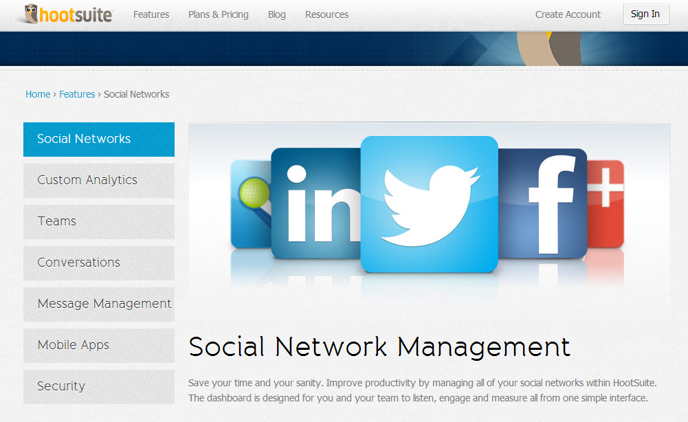 Hootsuite is a good resource for social media management.